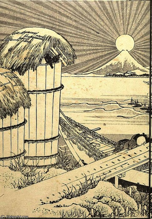 Fuji as a Mirror Stand by Katsushika Hokusai (1760-1849, Japan)