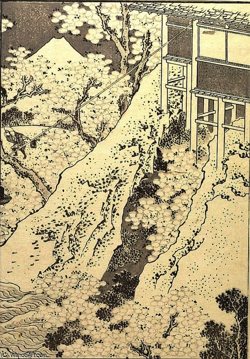 Fuji through Flowers by Katsushika Hokusai (1760-1849, Japan)