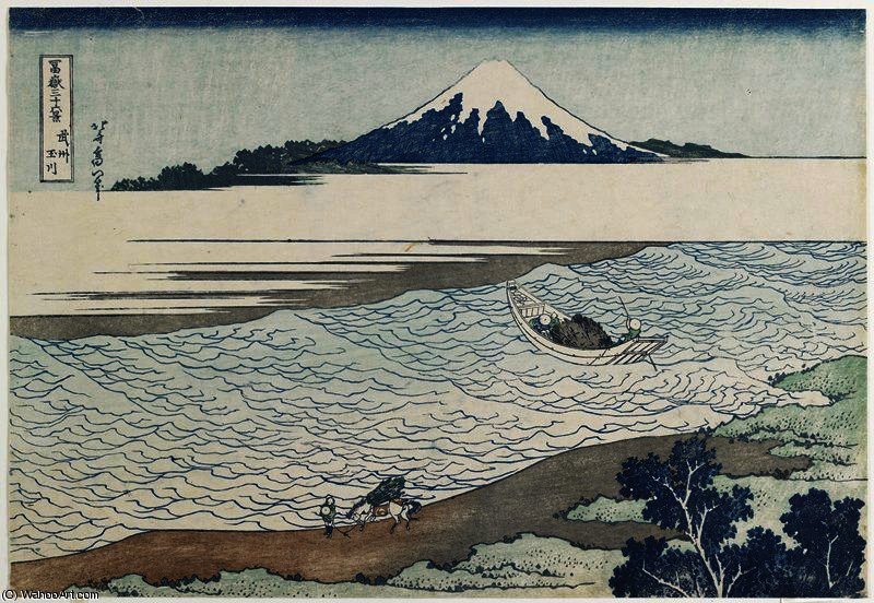 Jewel River in Musashi Province by Katsushika Hokusai (1760-1849, Japan) | Museum Quality Reproductions | WahooArt.com