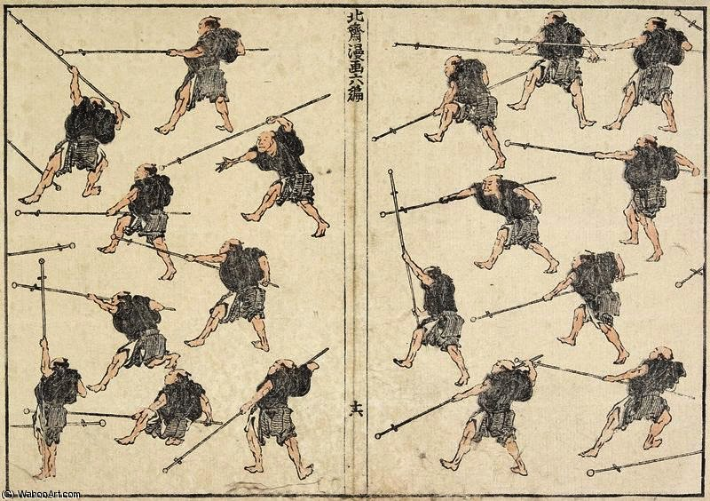 Practice of Long-handled Sword by Katsushika Hokusai (1760-1849, Japan) | WahooArt.com