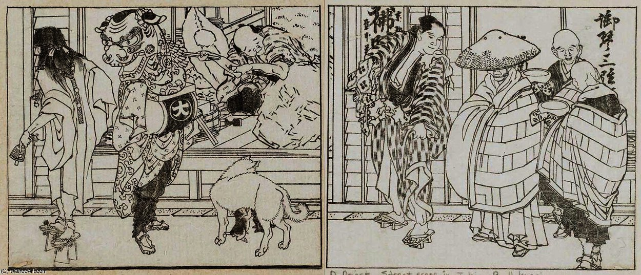 Priest and lion dancer outside a carver's shop by Katsushika Hokusai (1760-1849, Japan)