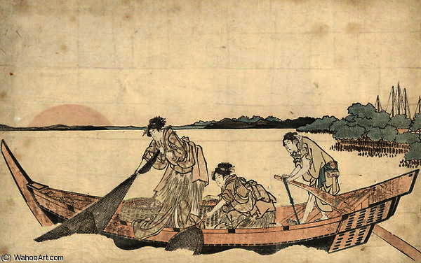 The fisher girls by Katsushika Hokusai (1760-1849, Japan)