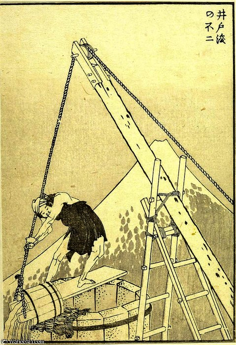 Well-Cleaning Fuji by Katsushika Hokusai (1760-1849, Japan) | Famous Paintings Reproductions | WahooArt.com