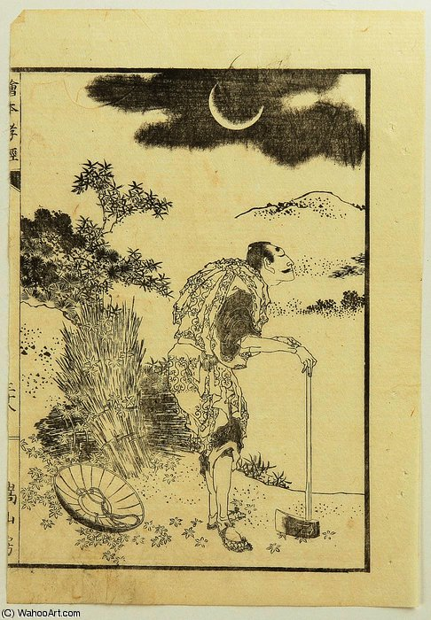 Wood Cutter and the Moon by Katsushika Hokusai (1760-1849, Japan) | Museum Quality Reproductions | WahooArt.com