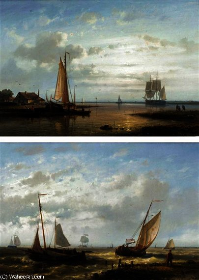 Calm waters at sunset by Abraham Hulk Senior (1813-1897, Netherlands)