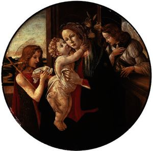 Sandro Botticelli - The madonna and child with the young saint john the baptist and the archangel gabriel