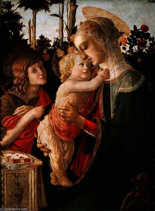 Virgin and Child with Young Saint John the Baptist by Sandro Botticelli (1445-1510, Italy) | WahooArt.com