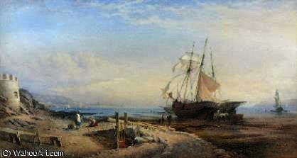 Low tide tynemouth by Thomas Sewell Robins (1810-1880, United Kingdom)