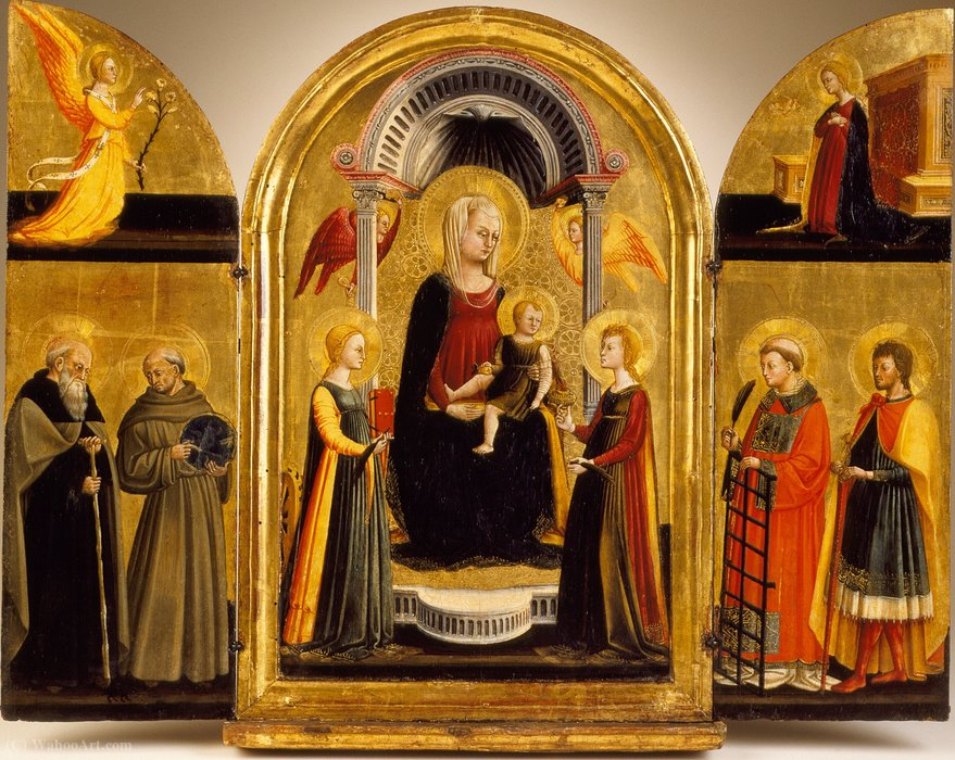 Triptych of the Madonna and Child with Saints by Neri Di Bicci (1418-1492)