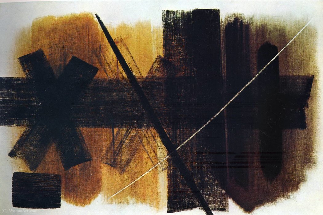 Untitled (529) by Hans Heinrich Hartung (1904-1989, Germany) | Painting Copy | WahooArt.com