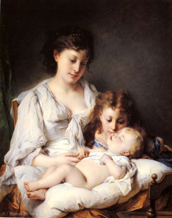 Maternal affection by Adolphe Jourdan