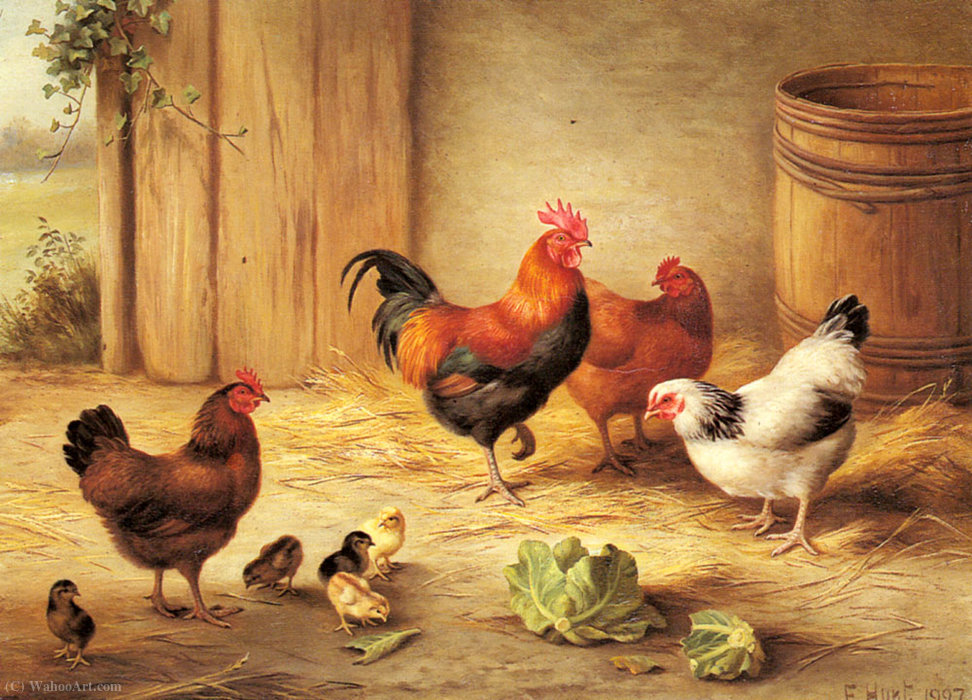 Chickens in a barnyard by Edgar Hunt