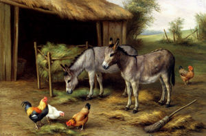 Edgar Hunt - Donkeys and poultry