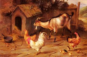 Edgar Hunt - Fowl chicks and goats by a dog kennel