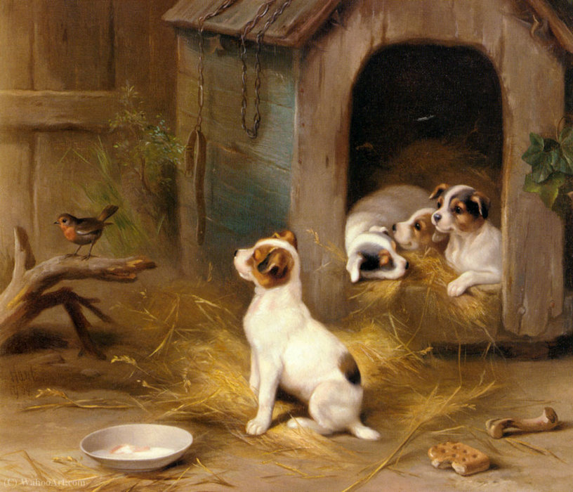 The puppies by Edgar Hunt