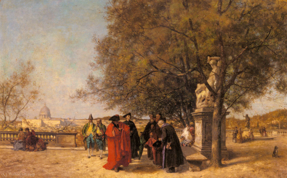 The greeting in the park by Ferdinand Heilbuth (1826-1889) | Museum Quality Copies Ferdinand Heilbuth | WahooArt.com