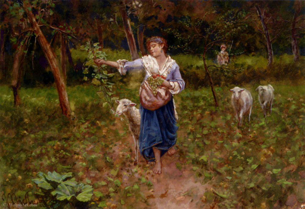 A shepherdess in a pastoral landscape by Francesco Paolo Michetti (1851-1929) | Museum Art Reproductions Francesco Paolo Michetti | WahooArt.com