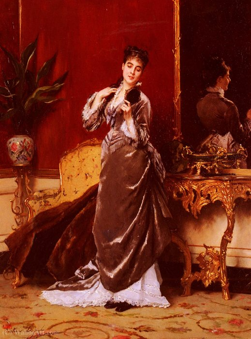 Dressing for the ball by Gustave Leonard De Jonghe (1829-1893, Belgium) | Famous Paintings Reproductions | WahooArt.com