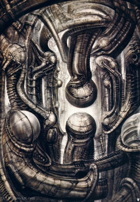 Hr giger biomechanicallandscape - (006) by H.R. Giger (1940-2014, Switzerland) | Famous Paintings Reproductions | WahooArt.com