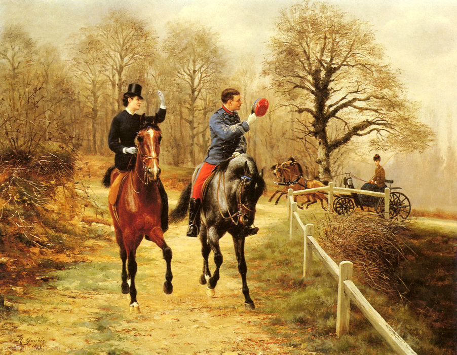 An afternoon ride by Jean Richard Goubie (1842-1899)