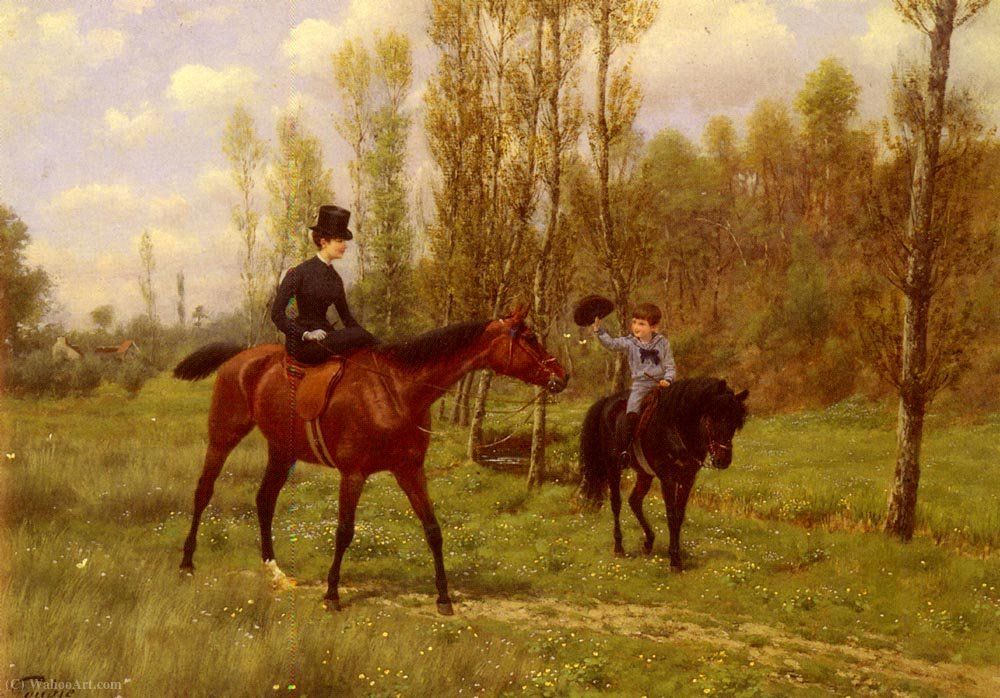 The morning ride by Jean Richard Goubie (1842-1899)