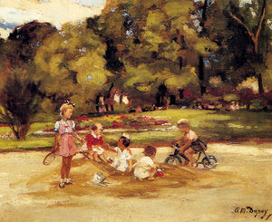 Paul-Michel Dupuy - Children playing in a park