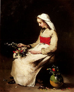 Théodule Augustin Ribot - A girl arranging a vase of flowers