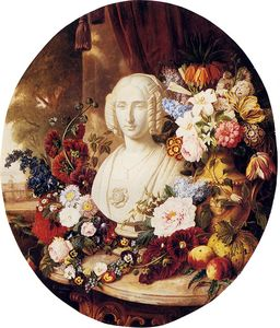 Virginie De Sartorius - A still life with assorted flowers fruit and a marble bust of a woman