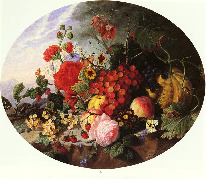 Still life with fruit and flowers on a rocky ledge by Virginie De Sartorius | Museum Quality Reproductions | WahooArt.com