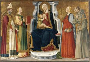 Nero Di Bicci - Madonna and Child Enthroned with Saints