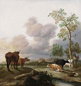 Anthonie Van Borssom - Landscape with Cows and Sheep