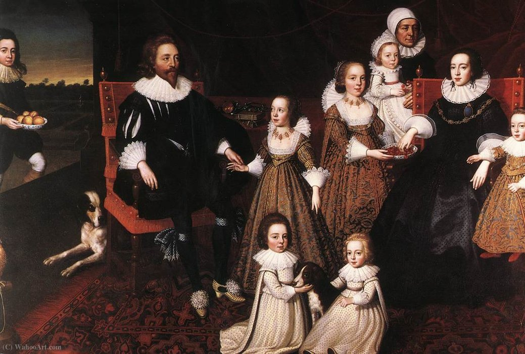 Sir Thomas Lucy and his Family by Cornelis Jonson Van Ceulen (1593-1661, United Kingdom) | Art Reproduction | WahooArt.com