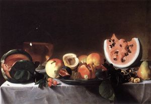 Pensionante Del Saraceni - Still-Life with Fruit and a Carafe of White Wine
