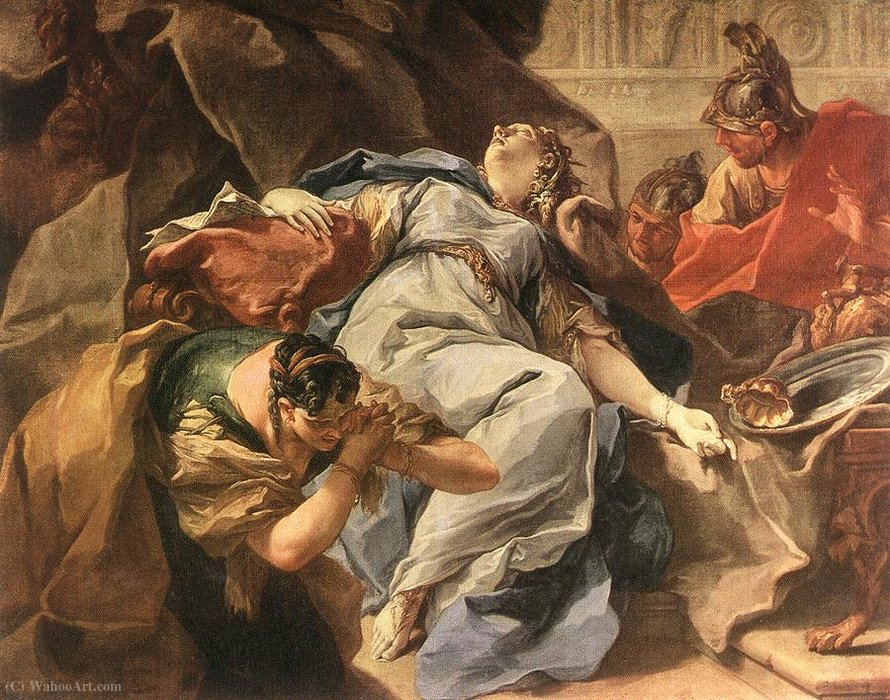 Death of Sophonisba by Giovanni Battista Pittoni (2007-1770, Italy) | Oil Painting | WahooArt.com