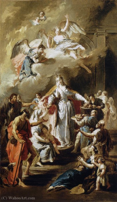 St elizabeth distributing alms by Giovanni Battista Pittoni (2007-1770, Italy) | Oil Painting | WahooArt.com