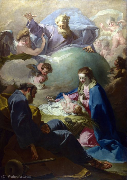 The Nativity with God the Father and the Holy Ghost by Giovanni Battista Pittoni (2007-1770, Italy)