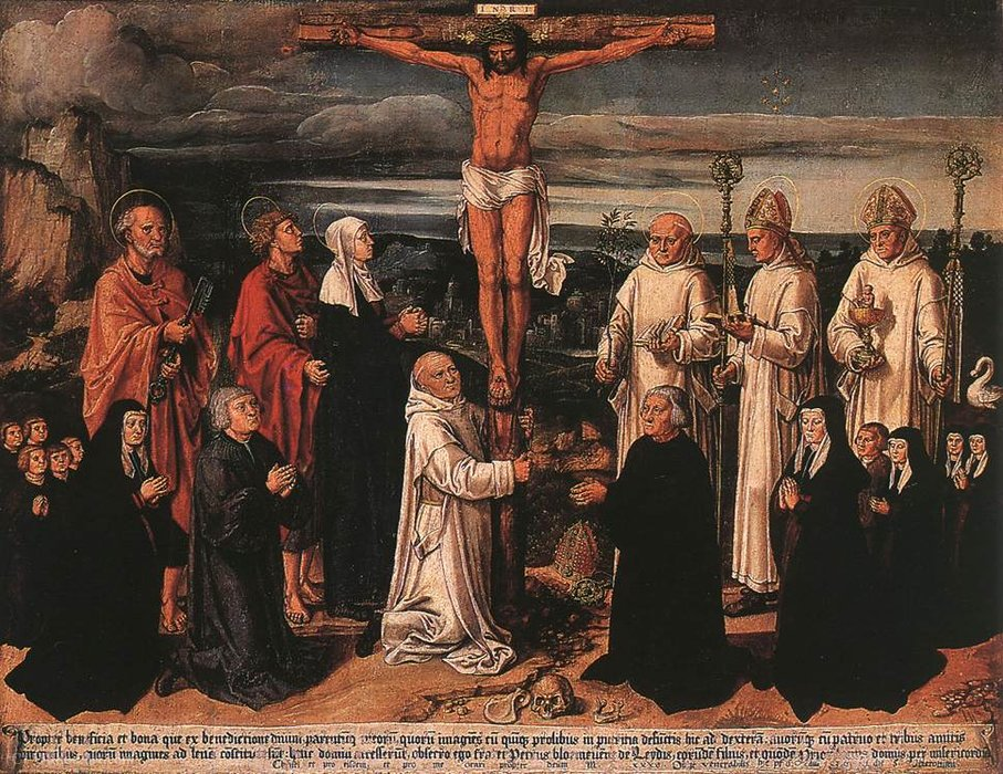 Christ on the Cross with Carthusian Saints by Anton Woensam Von Worms (1500-1541) | Oil Painting | WahooArt.com