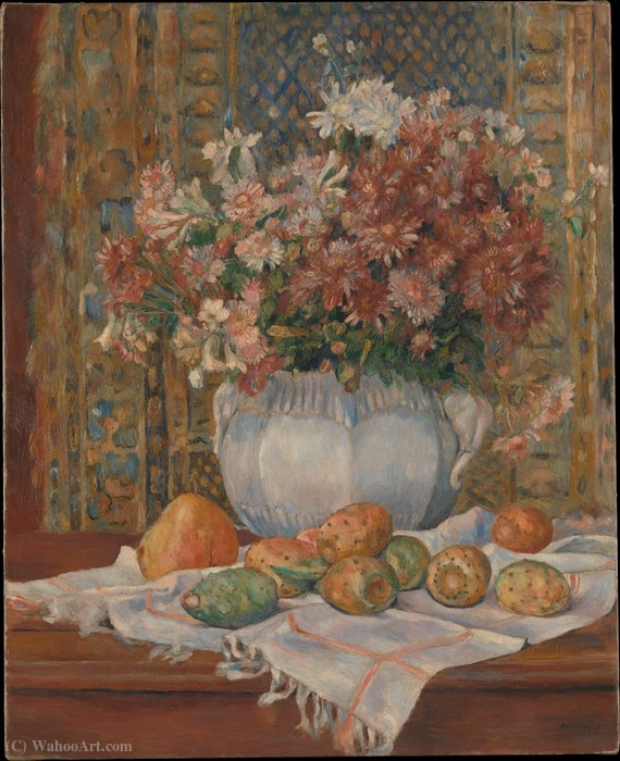 Still Life with Flowers and Prickly Pears (ca. (1885)) by Pierre-Auguste Renoir (1841-1919, France) | Reproductions Pierre-Auguste Renoir | WahooArt.com