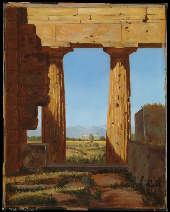 Columns of the Temple of Neptune at Paestum (1838) by Constantin Hansen (1804-1880, Italy) | Museum Quality Copies Constantin Hansen | WahooArt.com