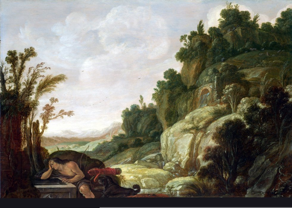Mountain Landscape with Narcissus by Jacob Symonsz Pynas (1583-1631, Netherlands) | Art Reproductions Jacob Symonsz Pynas | WahooArt.com