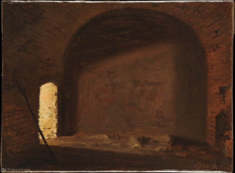 Study of Light in a Vaulted Interior by Wilhelm Ferdinand Bendz (1804-1832, Denmark) | Famous Paintings Reproductions | WahooArt.com
