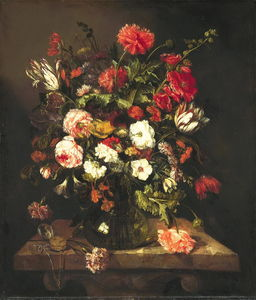 Abraham Hendriksz Van Beijeren - Bouquet of flowers in a glass vase (ok.1663-1665) (80 x 69) (The Hague, the Royal Gallery)
