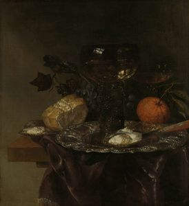 Order Museum Quality Reproductions : Still life (1640) (57 x 52.5) (Amsterdam, The State Museum) by Abraham Hendriksz Van Beijeren (1620-1690, Netherlands) | WahooArt.com