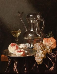 Abraham Hendriksz Van Beijeren - Still life with a pewter jug (49.2 x 37.2) (private collection)