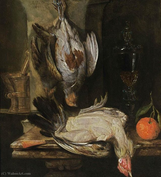 Still life with birds (1664) (64 x 59) (private collection) by Abraham Hendriksz Van Beijeren (1620-1690, Netherlands) | Famous Paintings Reproductions | WahooArt.com