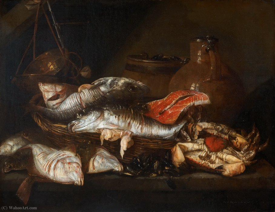 Order Art Reproduction : Still life with Fish (17th century) (71.4 x 92.4) (Philadelphia Museum of Art) by Abraham Hendriksz Van Beijeren (1620-1690, Netherlands) | WahooArt.com