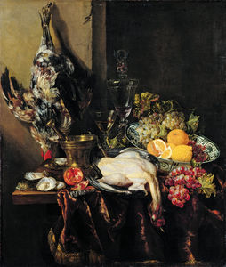 Abraham Hendriksz Van Beijeren - Still life with Fruit and bat bird (ok.1651) (104 x 88.8) (Dusseldorf, Museum kunstpalast)