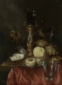 Abraham Hendriksz Van Beijeren - Still life with gilt stand and Jug (1640) (50.2 x 36.3) (Amsterdam, The State Museum)