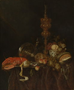 Abraham Hendriksz Van Beijeren - Still life with Lobster and Fruit (1650s) (96.5 x 78.7) (New York, Metropolitan)