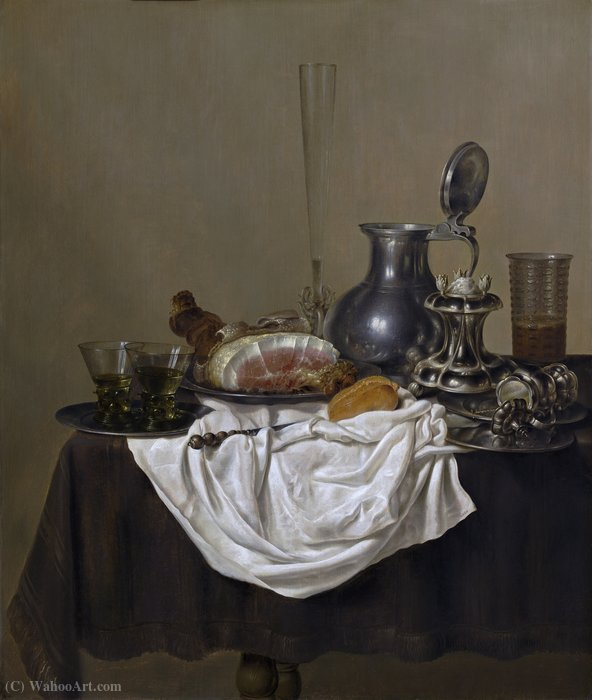 Still Life with Ham (about (98.5 x 82.5) (Washington, National Gallery) (1650)) by Gerrit Willemsz Heda | Painting Copy | WahooArt.com